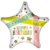 Sternluftballon zum Geburtstag, Happy Birthday Gold Stars & Colors, ohne Helium