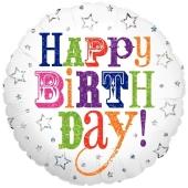 Happy Birthday Greetings, holografischer Luftballon zum Geburtstag mit Helium