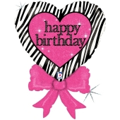 Happy Birthday, Herz mit Schleife, Luftballon aus Folie, ohne Helium