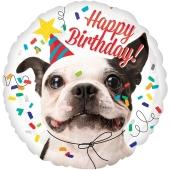 Happy Birthday Hund Luftballon aus Folie zum Geburtstag, ohne Helium