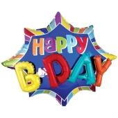 Folienballon, Jumbo Happy B'day Burst mit 3D-Effekt zum Geburtstag
