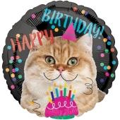 Happy Birthday Katze Luftballon aus Folie zum Geburtstag, ohne Helium
