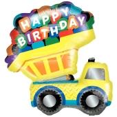 Luftballon Happy Birthday Kipplaster zum Geburtstag, ohne Helium