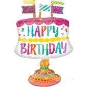 Happy Birthday Kuchen mit Fähnchen, Folienballon zum Geburtstag, inklusive Helium