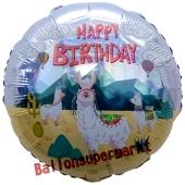 Lama Happy Birthday, holografischer Luftballon zum Geburtstag mit Helium