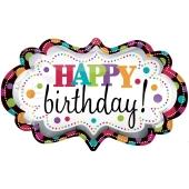 Happy Birthday Marquee Luftballon zum Geburtstag mit Helium Ballongas