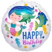 Happy Birthday Meerjungfrau, Luftballon aus Folie mit Helium