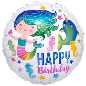Luftballon Meerjungfrau Happy Birthday, ohne Helium
