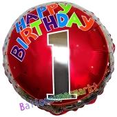 Luftballon aus Folie zum 1. Geburtstag, Happy Birthday Milestone 1, inklusive Ballongas