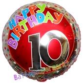 Luftballon aus Folie zum 10. Geburtstag, Happy Birthday Milestone 10, inklusive Ballongas