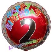 Luftballon aus Folie zum 2. Geburtstag, Happy Birthday Milestone 2, inklusive Ballongas