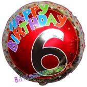 Luftballon aus Folie zum 6. Geburtstag, Happy Birthday Milestone 6, inklusive Ballongas