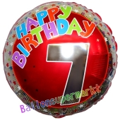 Luftballon aus Folie zum 7. Geburtstag, Happy Birthday Milestone 7, inklusive Ballongas