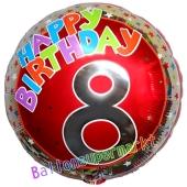 Luftballon aus Folie zum 8. Geburtstag, Happy Birthday Milestone 8, inklusive Ballongas
