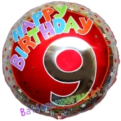 Luftballon aus Folie zum 9. Geburtstag, Happy Birthday Milestone 9, inklusive Ballongas