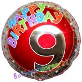 Luftballon aus Folie zum 9. Geburtstag, Happy Birthday Milestone 9