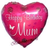 Geburtstags-Herzluftballon Happy Birthday Mum, ohne Helium-Ballongas