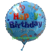 Geburtstags-Luftballon Musiknoten Happy Birthday, ohne Helium-Ballongas