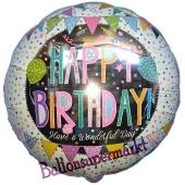 Patchwork Happy Birthday, Luftballon zum Geburtstag mit Helium