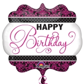 Pink, Black, White Birthday Luftballon zum Geburtstag mit Helium Ballongas