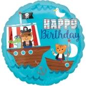 Happy Birthday Pirates, Luftballon aus Folie zum Geburtstag, ohne Helium