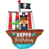 Happy Birthday, Piratenschiff, Folienballon ohne Helium