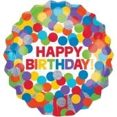 Holografischer Luftballon Happy Birthday Primary Rainbow zum Geburtstag, ohne Helium