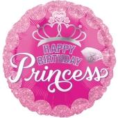 Luftballon zum Geburtstag, Happy Birthday Princess ohne Helium-Ballongas