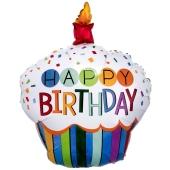 Happy Birthday Rainbow Cupcake, Luftballon zum Geburtstag mit Helium Ballongas
