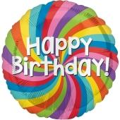 Rainbow Wheel Happy Birthday, Luftballon zum Geburtstag mit Helium