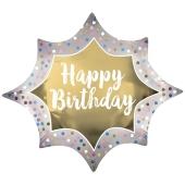 Happy Birthday Satin Burst Gold, Luftballon zum Geburtstag mit Helium Ballongas