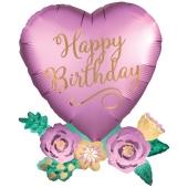 Happy Birthday Satin Herz mit Blumen Luftballon zum Geburtstag mit Helium Ballongas