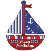 Happy Birthday Segelboot Luftballon zum Geburtstag, holografisch mit Helium Ballongas