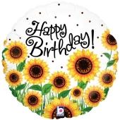 Happy Birthday Sonnenblumen, Luftballon zum Geburtstag mit Helium