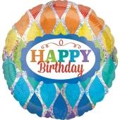 Sparkly Triangles Happy Birthday, holografischer Luftballon zum Geburtstag mit Helium