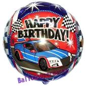 Happy Birthday Rennauto Luftballon aus Folie zum Geburtstag, ohne Helium