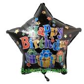 Stern, Happy Birthday, Big Dots Luftballon zum Geburtstag mit Helium