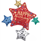 Happy Birthday Geburtstagsballon, Satin Star Cluster Shape