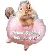 Luftballon Happy Birthday Streifenhörnchen zum Geburtstag, ohne Helium