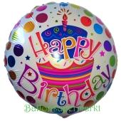 Torte und Punkte Happy Birthday, Luftballon zum Geburtstag mit Helium