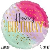 Watercolor Happy Birthday, Jumbo Luftballon zum Geburtstag mit Helium