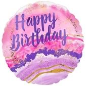 Happy Birthday Watercolor Marble, Luftballon zum Geburtstag mit Helium