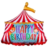Happy Birthday Zirkuszelt Luftballon zum Geburtstag mit Helium Ballongas