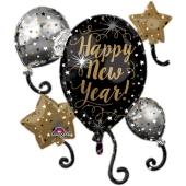 Großer Luftballon aus Folie zu Silvester und Neujahr, Happy New Year, Cluster Ballon, Ballontraube