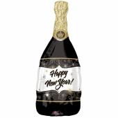 Happy New Year Champagnerflasche, Folienballon zu Silvester mit Helium-Ballongas