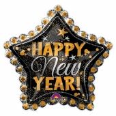 Großer Luftballon zu Silvester, Happy New Year Dotted Star, Sternballon mit Helium
