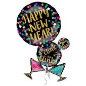 Großer Cluster Luftballon aus Folie zu Silvester und Neujahr, Happy New Year, Martinigläser