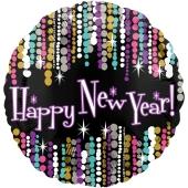 Silvester Luftballon, Silvester-Partydekoration, Folienballon ohne Ballongas, Happy New Year Glamour