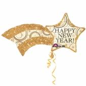 Luftballon zu Silvester, Happy New Year Sternschnuppe, inklusive Helium