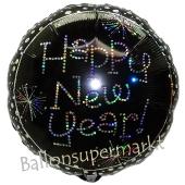 Luftballon Silvester, Happy New Year, Feuerwerk und Punkte, Rundballon mit Ballongas Helium